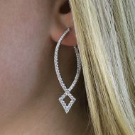 14k White Gold Hoops Intricate Hoop Earrings angle
