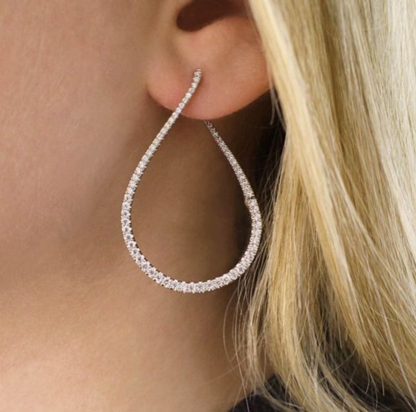 14k White Gold Lusso Intricate Hoop Earrings angle