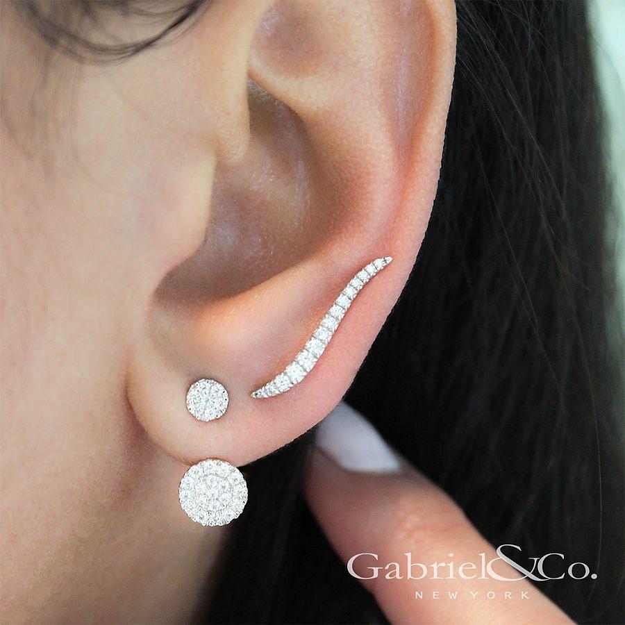 14K White Gold Peek A Boo Circle Diamond Earrings angle