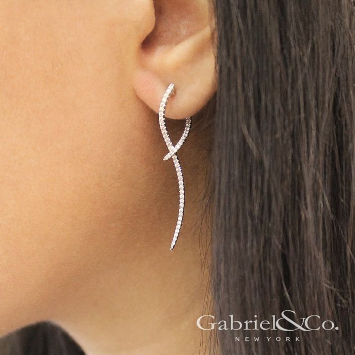 14K White Gold Sculptural Diamond Drop Earrings angle