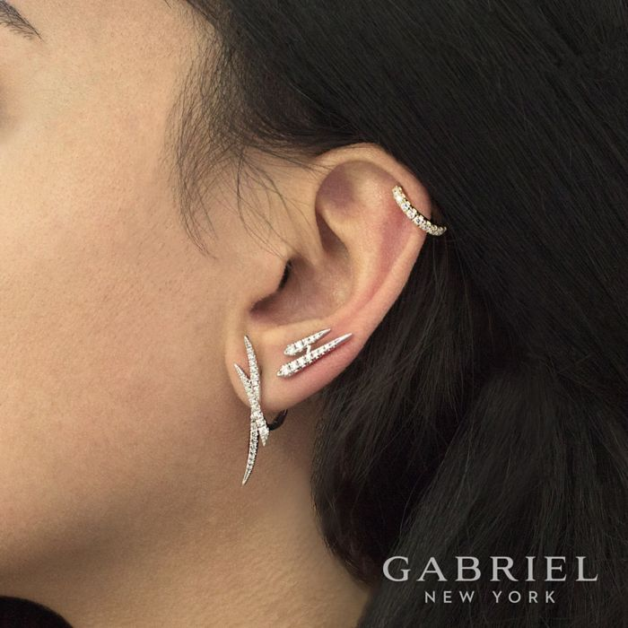 14K White Gold Classic Diamond Earcuff Earrings angle