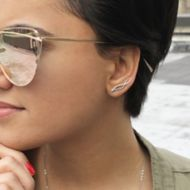 14K White Gold Twisted Diamond Ear Climber Earrings angle