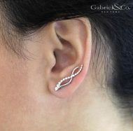 14k White Gold Comets Earcuffs Earrings angle