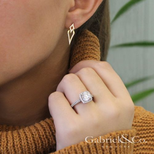 14K Yellow Gold Peek A Boo Kite Diamond Earrings angle