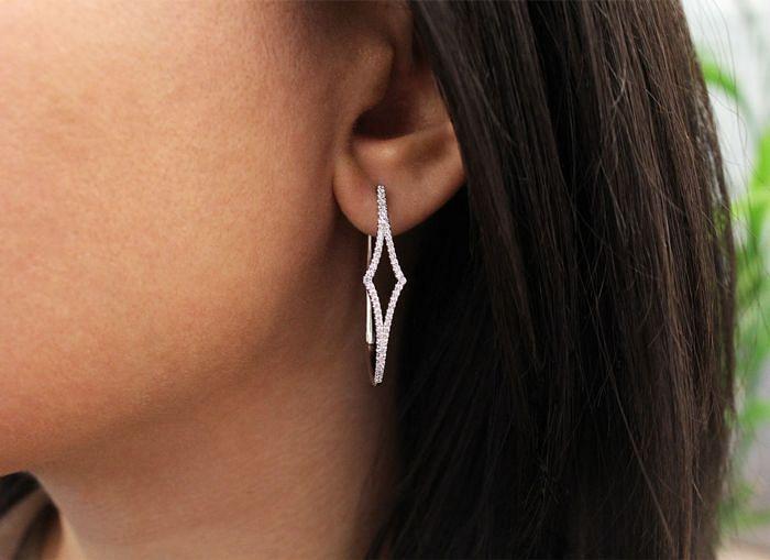 14K White Gold 35mm Diamond Hoop Earrings angle