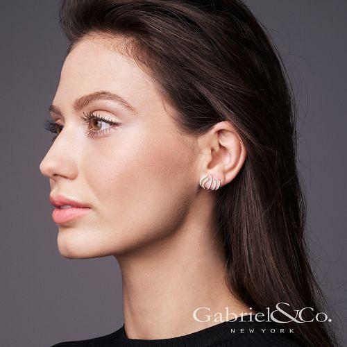14K White Gold Diamond Tendril Stud Earrings angle