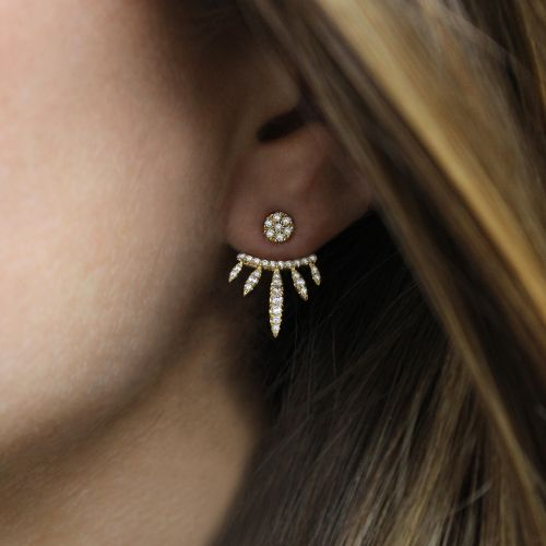 14k Yellow Gold Front Back Tapered Diamond Drop Earrings