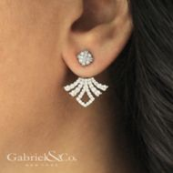 14K White Gold Peek A Boo Pointed Diamond Fan Earrings angle
