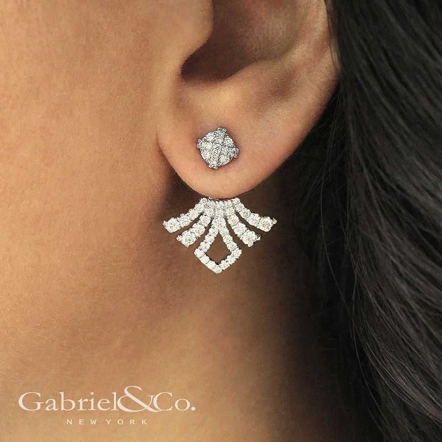 14K White Gold Peek A Boo Pointed Diamond Fan Earrings