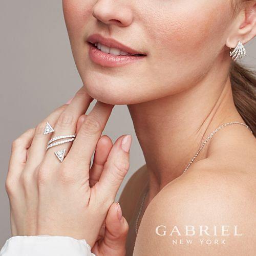 14k White Gold 20mm Fringe Fan Diamond Huggie Earrings angle