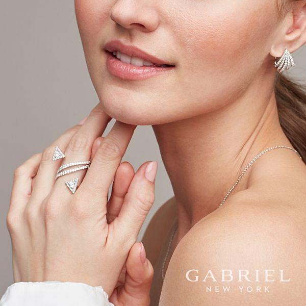 14k White Gold Kaslique Statement Ladies Ring angle
