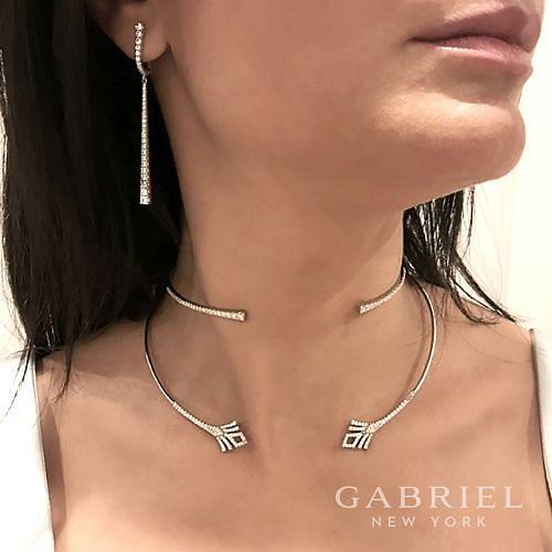14K White Gold Fashion Necklace angle