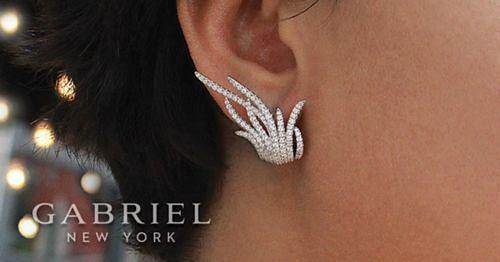 18K White Gold Layered Multi Row 25mm Diamond Huggies angle