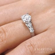 Chelsea 18k White Gold Round Straight Engagement Ring angle