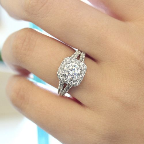 14K White Gold Cushion Halo Round Diamond Engagement Ring angle