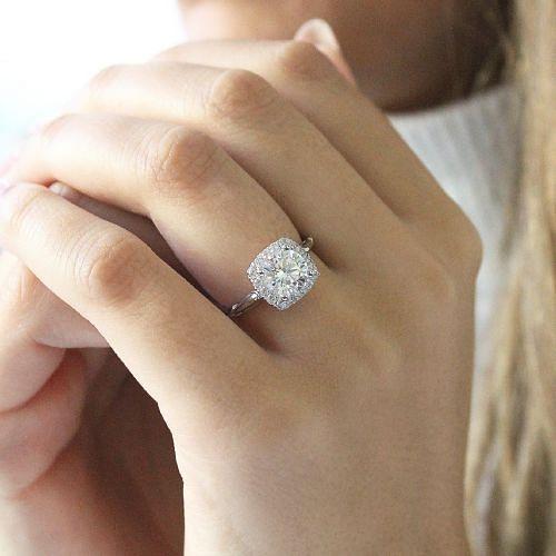 18k White-Rose Gold Cushion Halo Round Diamond Engagement Ring angle