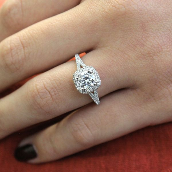 Gemma 18k White And Rose Gold Round Double Halo Engagement Ring angle