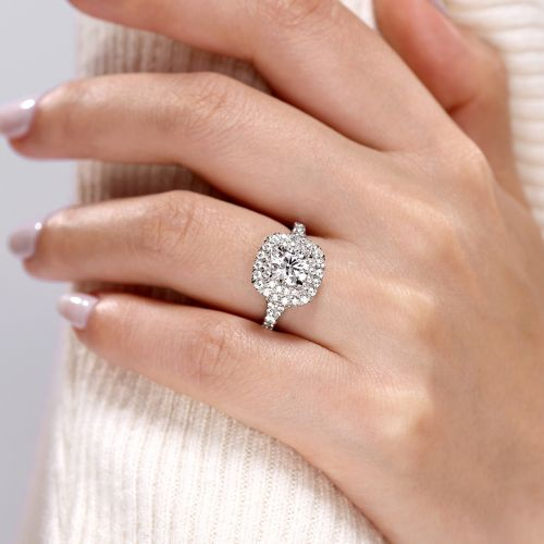 14k White Gold Cushion Double Halo Round Diamond Engagement Ring angle