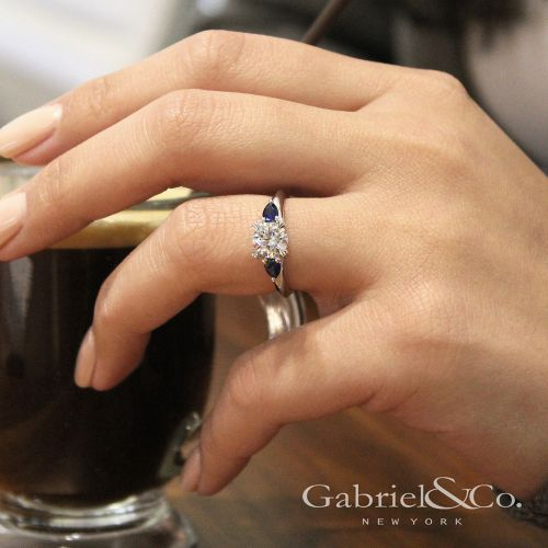 14K White Gold Sapphire and Diamond Engagement Ring angle