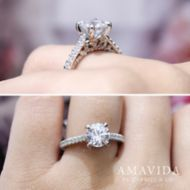 18K White-Rose Gold Round Diamond Engagement Ring angle