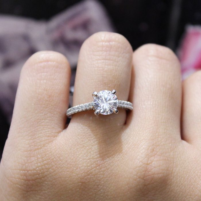 18K White-Rose Gold Round Diamond Engagement Ring angle