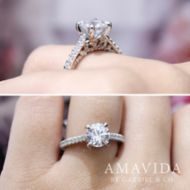 Ella 18k White And Rose Gold Round Straight Engagement Ring angle