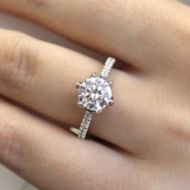 Adelaide 18k White Gold Round Straight Engagement Ring angle