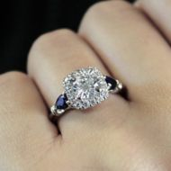 18K White Gold Round Halo Sapphire and Diamond Engagement Ring angle
