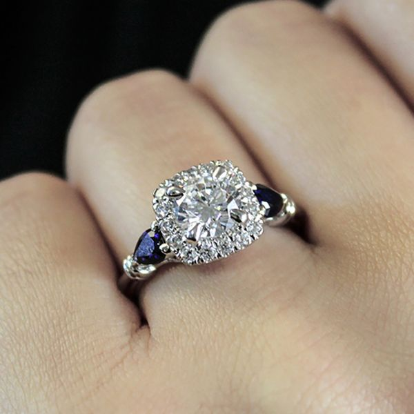 18K White Gold Round Halo Sapphire and Diamond Engagement Ring