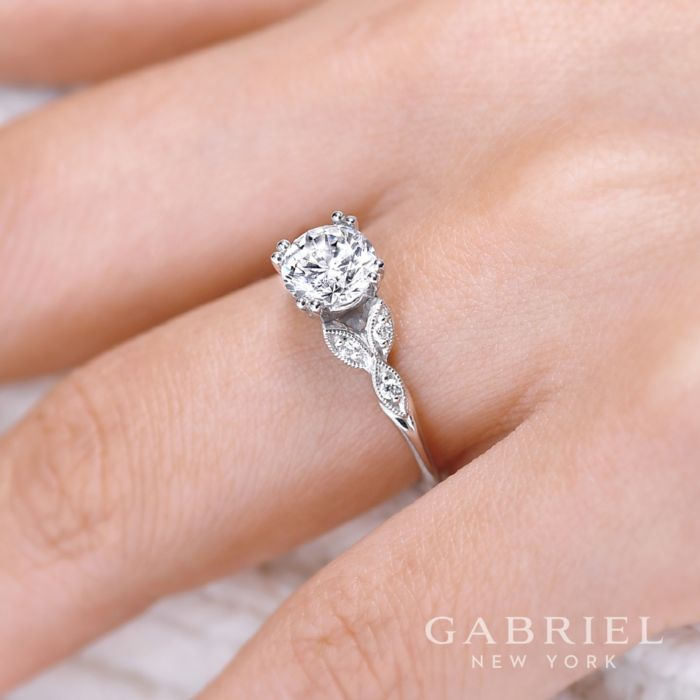 14K White Gold Round Diamond Engagement Ring angle
