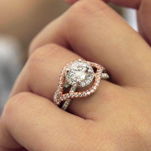 18K White-Rose Gold Diamond Engagement Ring angle