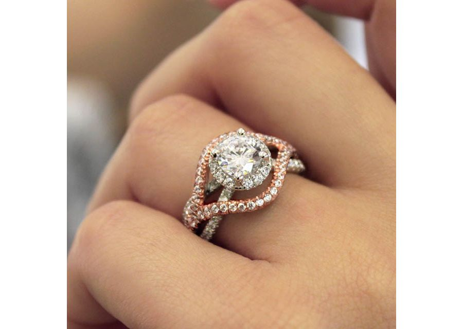 18K White-Rose Gold Diamond Engagement Ring angle