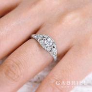 Abel 14k White Gold Round Halo Engagement Ring angle