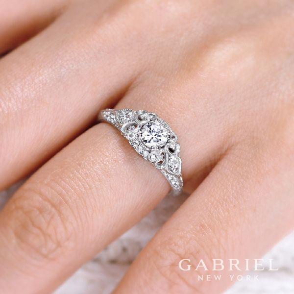 Abel 14k White Gold Round Halo Engagement Ring angle