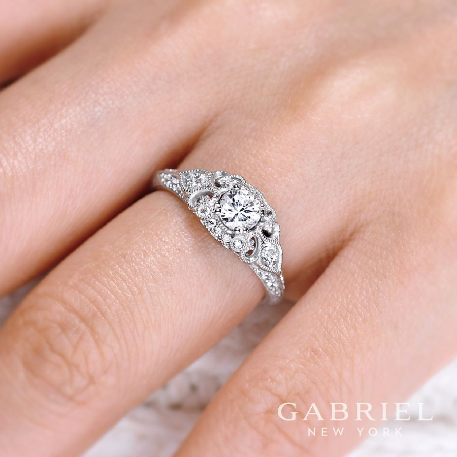 Unique 14K White Gold Vintage Inspired Diamond Halo Engagement Ring angle