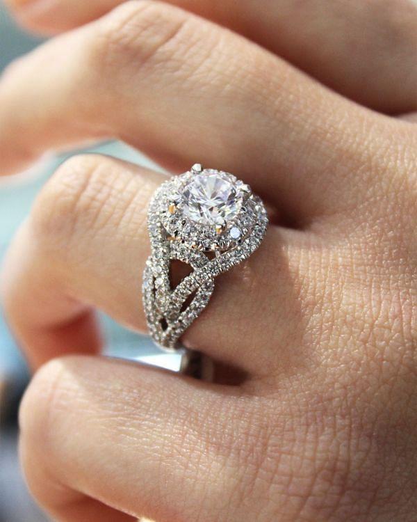 Krishna 18k White Gold Round Halo Engagement Ring angle