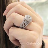 Tarantana 18k White Gold Round Double Halo Engagement Ring angle