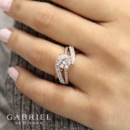 Zaira 14k White And Rose Gold Round Free Form Engagement Ring angle