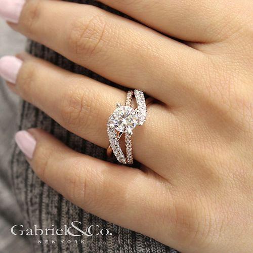 14K White-Rose Gold Round Free Form Diamond Engagement Ring