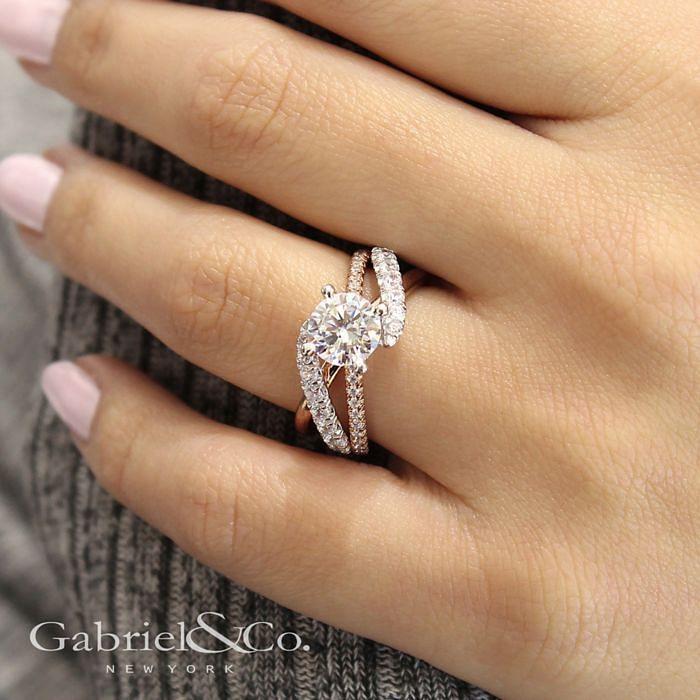 14K White-Rose Gold Round Free Form Diamond Engagement Ring angle