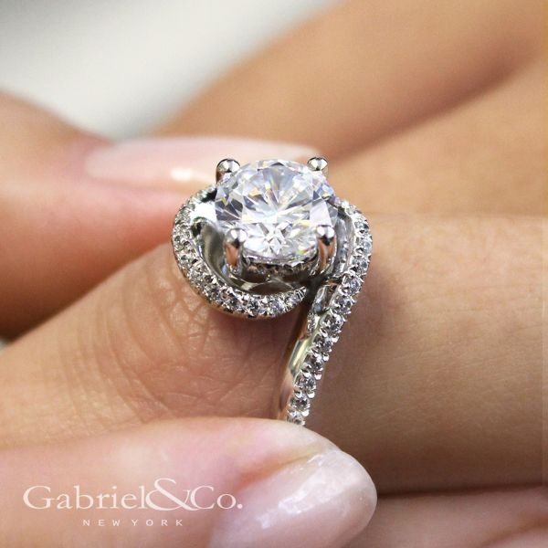 14k White Gold Round Bypass Engagement Ring angle