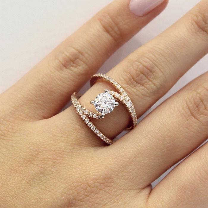 14K Rose Gold Round Split Shank Diamond Engagement Ring angle