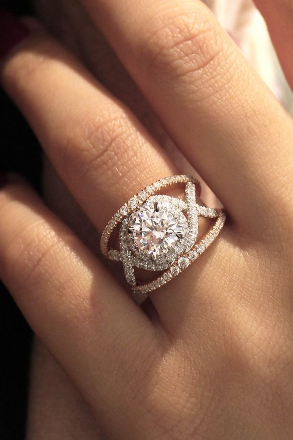 Gabriella 18k White And Rose Gold Round Split Shank Engagement Ring angle