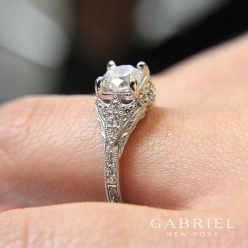 Unique 14K White Gold Vintage Inspired Diamond Halo Engagement Ring angle