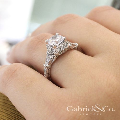 Unique 14K White Gold Vintage Inspired Halo Diamond Engagement Ring angle