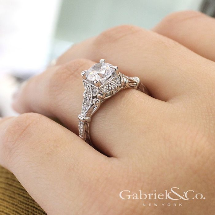 Unique 14K White Gold Vintage Halo Engagement Ring angle