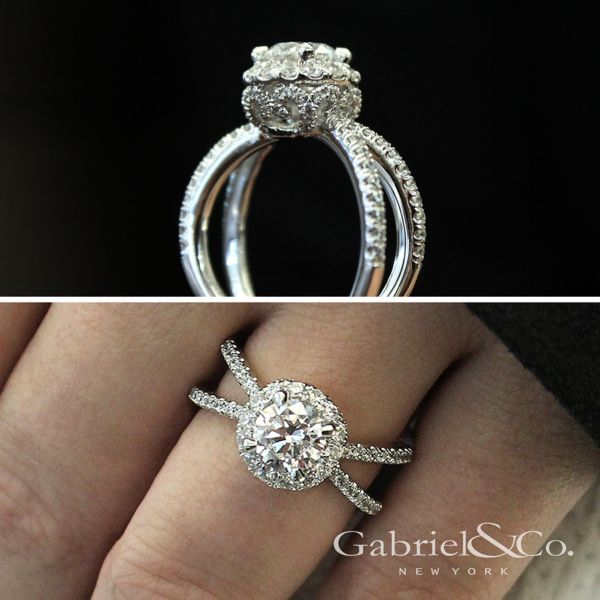 14k White Gold Round Split Shank Engagement Ring angle