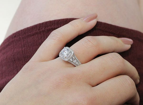 14k White Gold Round Double Halo Engagement Ring angle