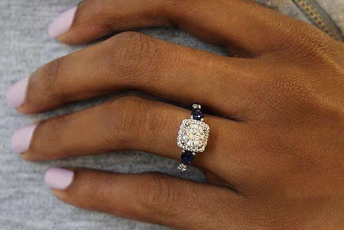 14K White Gold Cushion Three Stone Halo Round Sapphire and Diamond Engagement Ring angle