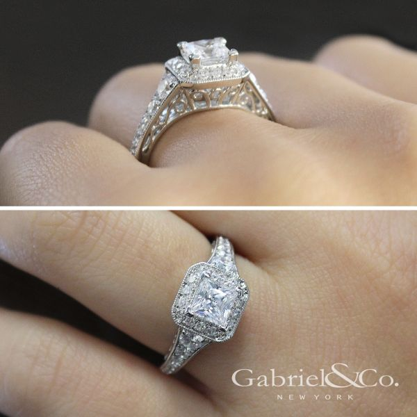 14k White Gold Princess Cut Halo Engagement Ring angle